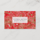 Holiday red green floral hand drawn watercolor business card