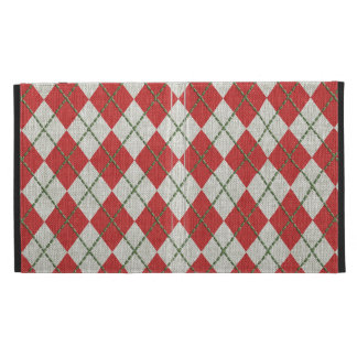 Holiday Red Green Linen Argyle Pattern iPad Folio Cover