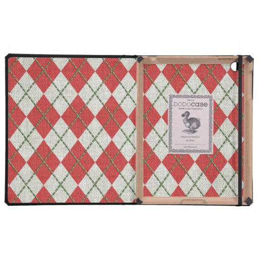 Holiday Red Green Linen Argyle Pattern iPad Case