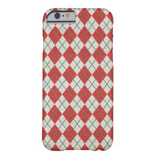 Holiday Red Green Linen Argyle Pattern Barely There iPhone 6 Case