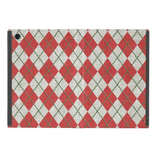 Holiday Red Green Linen Argyle Pattern Case For iPad Mini
