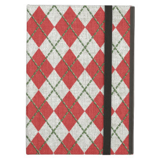 Holiday Red Green Linen Argyle Pattern iPad Air Cases