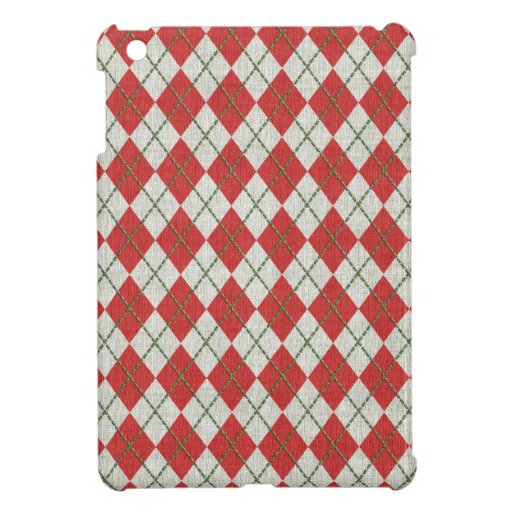Holiday Red Green Linen Argyle Pattern iPad Mini Cases