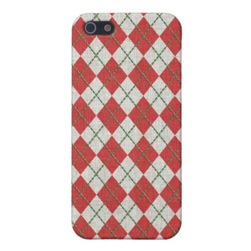 Holiday Red Green Linen Argyle Pattern iPhone 5/5S Cases