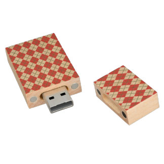 Holiday Red Green Linen Argyle Pattern Wood USB 2.0 Flash Drive