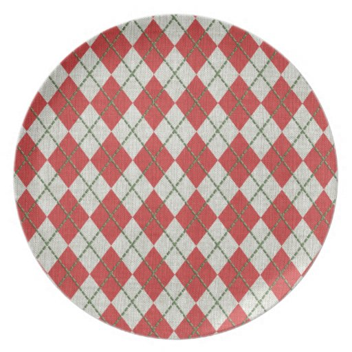 Holiday Red Green Linen Argyle Pattern Party Plate