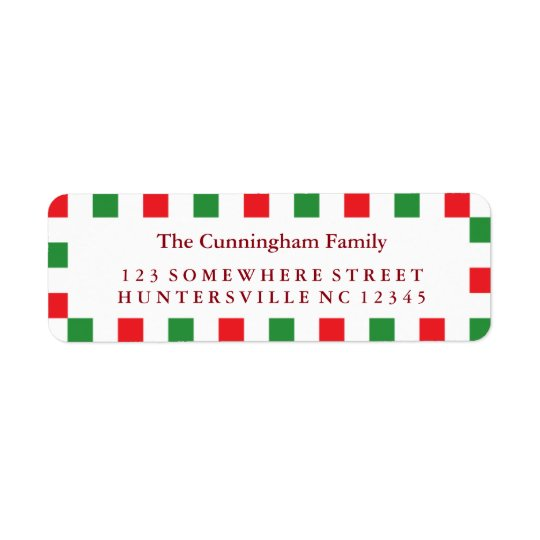 Holiday Red & Green Square Border Return Address Label