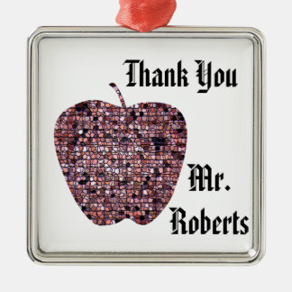 Holiday Red Mosaic Apple Thank You with Name Metal Ornament