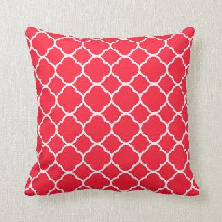 Holiday Red Quatrefoil Modern Throw Pillow