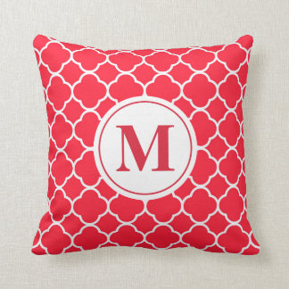 Holiday Red Quatrefoil Monogram Throw Pillow