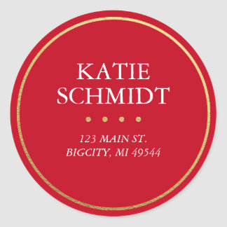 Holiday Red Return Address Label w/ Faux Gold Foil Round Sticker
