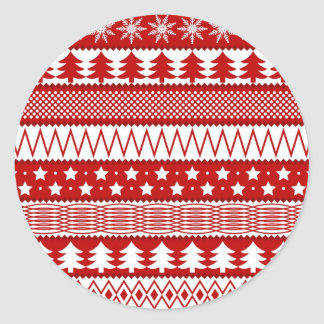 Holiday Red Stripes Pattern Classic Round Sticker