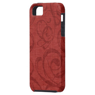 Holiday Red Swirls Pattern iPhone 5 Cases