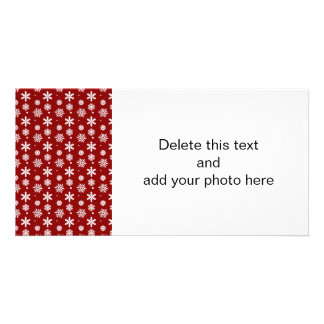 Holiday Red White Snowflakes Pattern 1 Customised Photo Card
