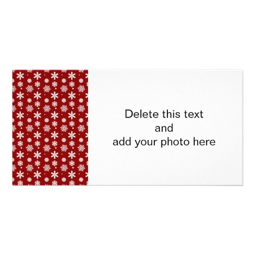 Holiday Red White Snowflakes Pattern 1 Photo Cards
