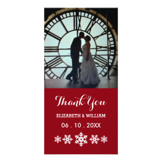 Holiday Red With Snowflakes Elegant Winter Wedding Photo Cards