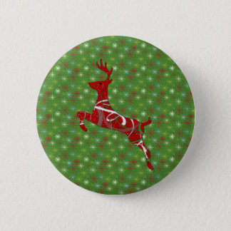 Holiday Reindeer 6 Cm Round Badge