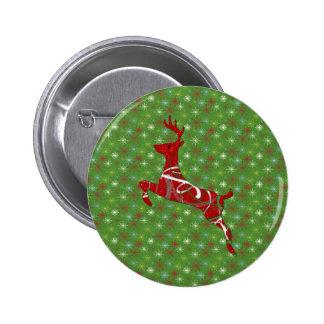 Holiday Reindeer 6 Cm Round Badge
