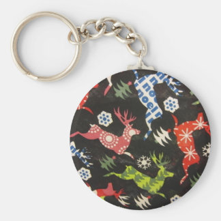 Holiday Reindeer Basic Round Button Key Ring