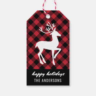 Holiday Reindeer | Red and Black Buffalo Plaid Gift Tags