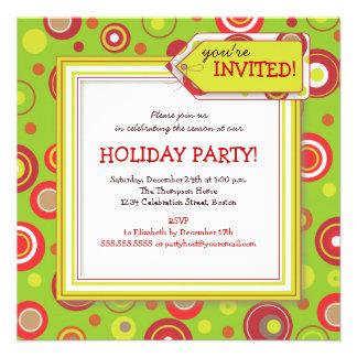 Holiday Retro Red Green Polka Dot Party Custom Invitations