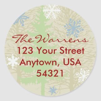 Holiday Return Address Label Template Round Sticker