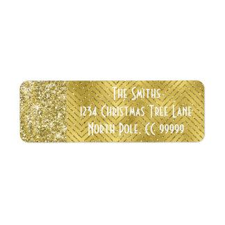 "Holiday Return Labels ""Chevron Gold Design"""