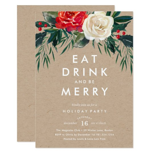 Holiday Rose Holiday Party Invitation