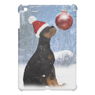 Holiday Rottweiler With Ornament - Winter Scenery iPad Mini Covers
