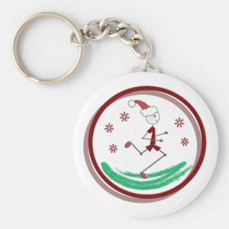 Holiday Runner Guy Basic Round Button Key Ring