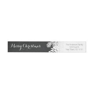 Holiday Rustic Pine and Chalkboard Return Address Wraparound Return Address Label