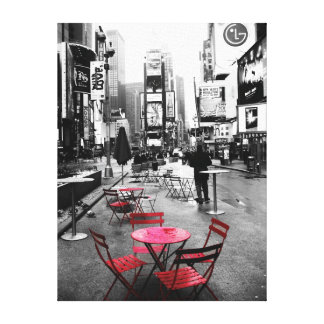 HOLIDAY SALE! Times Square Black White Red Canvas Gallery Wrapped Canvas