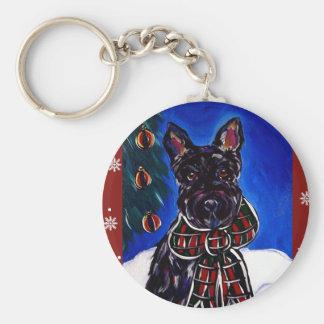 Holiday Scottish Terrier Basic Round Button Key Ring