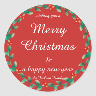 Holiday  Script Bright Christmas trendy christmas Classic Round Sticker