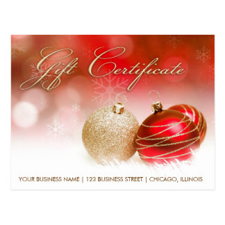 Holiday Season And Christmas Gift Certificate Postcard