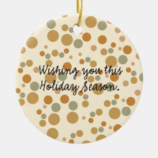 holiday season Double-Sided ceramic round christmas ornament