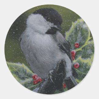 Holiday/Seasonal Stickers: Snow Bird/ Chickadee Classic Round Sticker