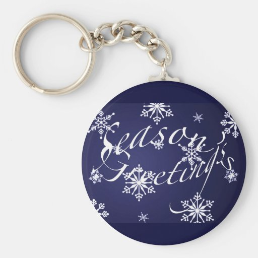 Holiday Season's Greetings Matching Blue Items Keychain