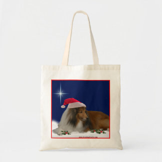 Holiday Sheltie Tote Budget Tote Bag