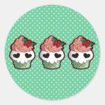 Holiday Skull Cupcake Sticker