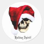 Holiday Skull Round Sticker