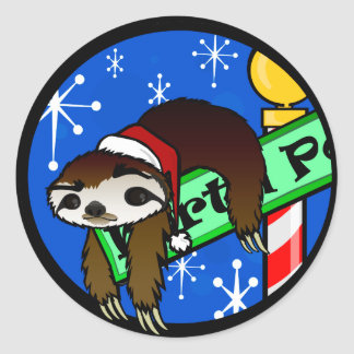 HOLIDAY SLOTH ROUND STICKERS