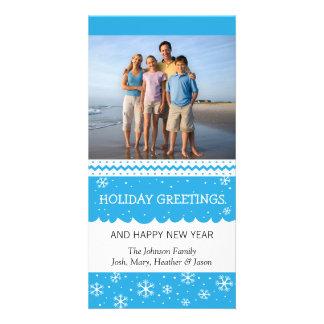 Holiday Snowflake Blue Photo Card