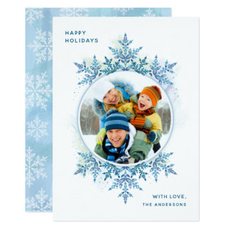 Holiday Snowflake Christmas Photo Card