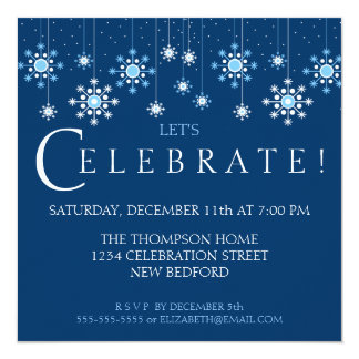 Holiday Snowflake in Ice Blue Party Invitation