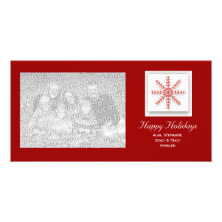 Holiday Snowflake Red Custom Photo Card