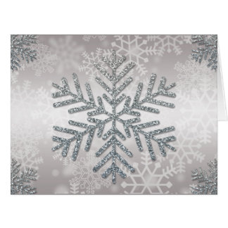 Holiday Snowflake with Silver Glitter Card