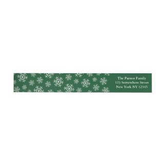 Holiday Snowflake Wraparound Label Green Wraparound Return Address Label