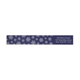 Holiday Snowflake Wraparound Label Navy