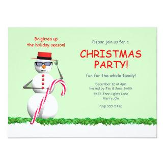 Holiday Snowman Christmas Party 17 Cm X 22 Cm Invitation Card